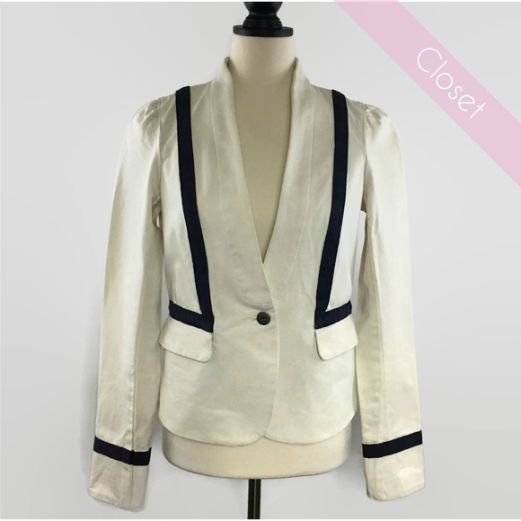 Loft Jackets Coats Off White Cotton Blazer Wnavy Blue Striping